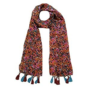 Letz Dezine ™ Women's Printed Poly Cotton Multicolored Scarf and Stoles with Pearl Tassels – Set of 6 (LDS10111)