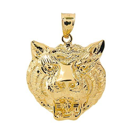10 ct 471/1000 Or Jaune Diamant Coupe-Tete De Tigre Pendentif