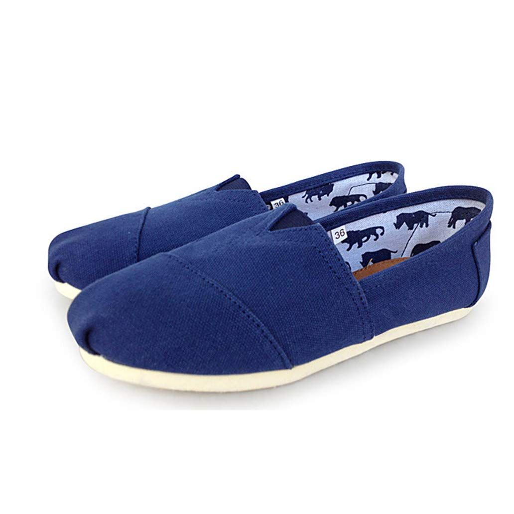 York Zhu Women Flats-Shoes Comfortable and Breathable Canvas Shoes for Women Big Size