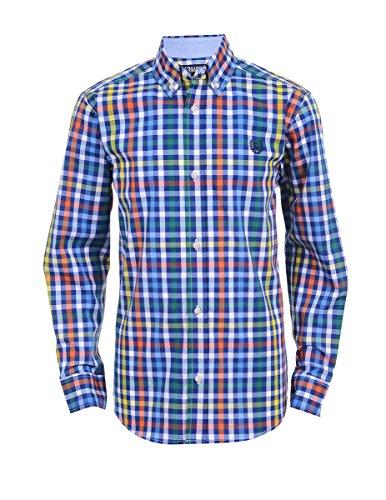 Chaps Boys' Big' Long Sleeve Woven Shirt with Stretch, Carson Dark Blue, M10/12