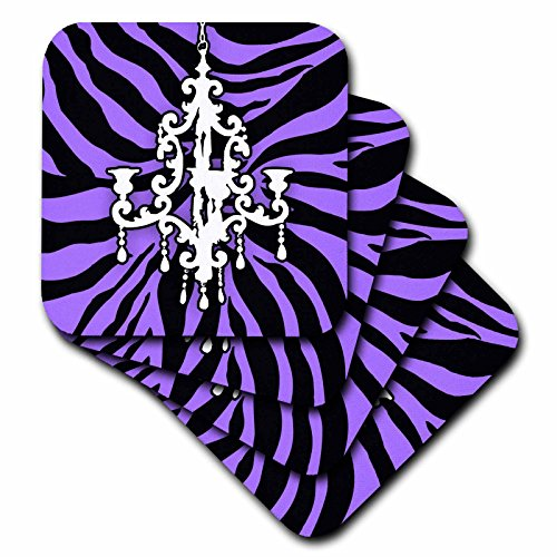 (3dRose CST_26427_2 Funky Purple Zebra Print with Chic White Chandelier-Soft Coasters, Set of 8)