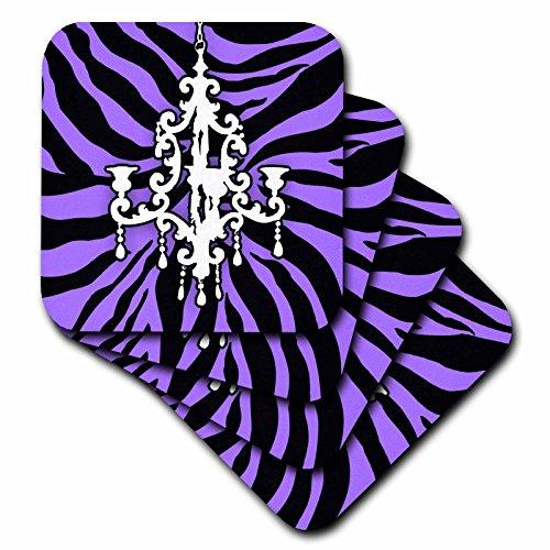 3dRose CST_26427_2 Funky Purple Zebra Print with Chic White Chandelier-Soft Coasters, Set of - Zebra Purple Funky