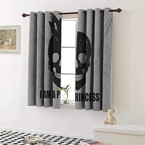 I am a Princess Customized Curtains Skull with a Crown Skeleton Halloween Theme Grunge Look Curtains for Kitchen Windows W63 x L45 Inch Charcoal Grey and Pale Grey ()