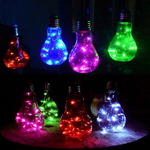 retro led lampe party deko glhbirne aus glas mit intrigierter mirco lichterkette als tischleuchte oder hngeleuchte - Bunte Led Lampen