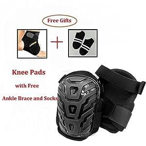 Rodilleras resistente acolchado de espuma y cómodo cojín de gel para, doble de correas y ajustable easy-Fix Clips con libre Ankle Brace y calcetines