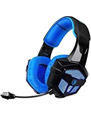 SADES Gaming Headset with Mic Volume Control LED, Yanni Sades SA806 3.5mm Wired Computer Over Ear Stereo Headphones for PC MAC Notebook Gamers Smart Phone Mobiles iPad(Black Blue)
