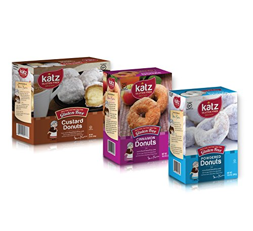 Katz Gluten Free Donut Variety Pack | 1 Powdered, 1 Cinnamon, 1 Custard Donuts | Dairy, Nut, Soy and Gluten Free | Kosher (1 Pack of each)