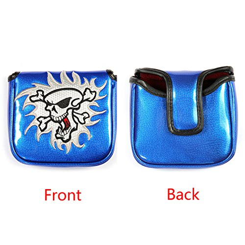 (Skull Golf Putter Cover Square Mallet Club Headcovers Water-Proof Mirror Surface with Magnetic Closure Fit for All Brands (Blue))