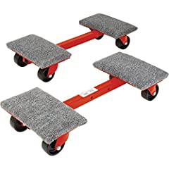 The Roberts 10-575 1,000-Pound. Capacity Heavy-Duty Cargo Dollies (2-Pack) are constructed of industrial-strength steel that is bolted and welded together. Each dolly will hold up to 1,000-Pound The dollies can be used to move rolls of carpet...