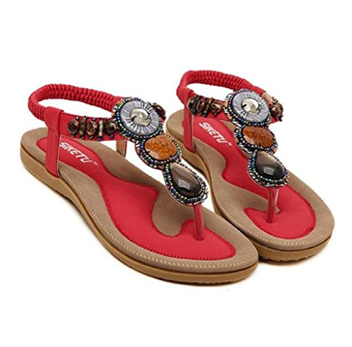 TM Sweet Women Shoes Bohemia Sandals Sandals Beaded Summer Toe Flat Casual Herringbone Red AMA Beach Clip dHqCxwpq