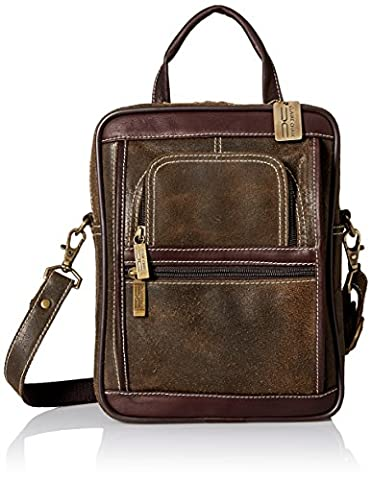 Claire Chase Men's Ultimate Manbag Extra Large Shoulder Bag, Distressed Brown, One Size - Claire Chase Leather Messenger