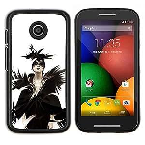 Qstar Arte & diseño plástico duro Fundas Cover Cubre Hard Case Cover para Motorola Moto E (Goth Señora Reina)