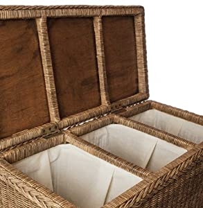 Urbanara java laundry basket 100 rattan cotton lining 3 sections dark brown 78 x 40 x - Whites and darks laundry basket ...