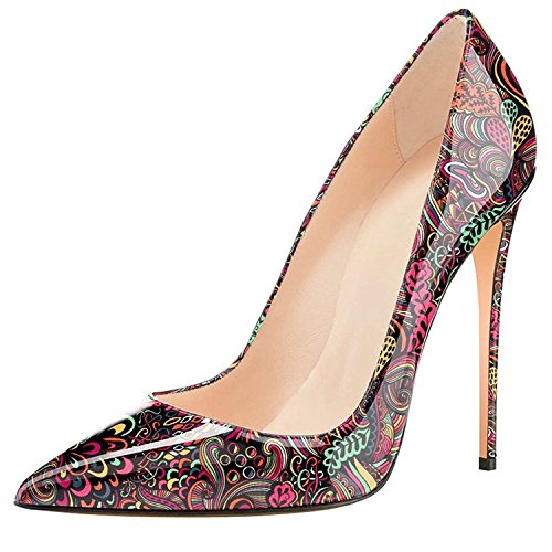 print Slip Party Shoes Womens Heel Stiletto on Basic Pointed Toe Wedding Pumps Lovirs High Red q6wgWXFxvv