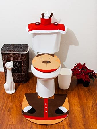 Amazon.com: Christmas Bathroom Toilet Cover and Rug Set - Santa ...