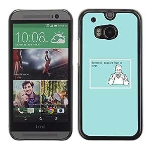 Qstar Arte & diseño plástico duro Fundas Cover Cubre Hard Case Cover para HTC One M8 ( Binge Purge Funny Quote Man Food Sandwich)