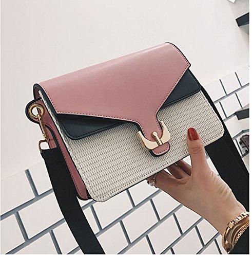 Rrock Pastoral Viento Hierba Costura Pequeño Bolso Del Partido Golpear Color Hombro Casual Messenger Bag,Brown Pink