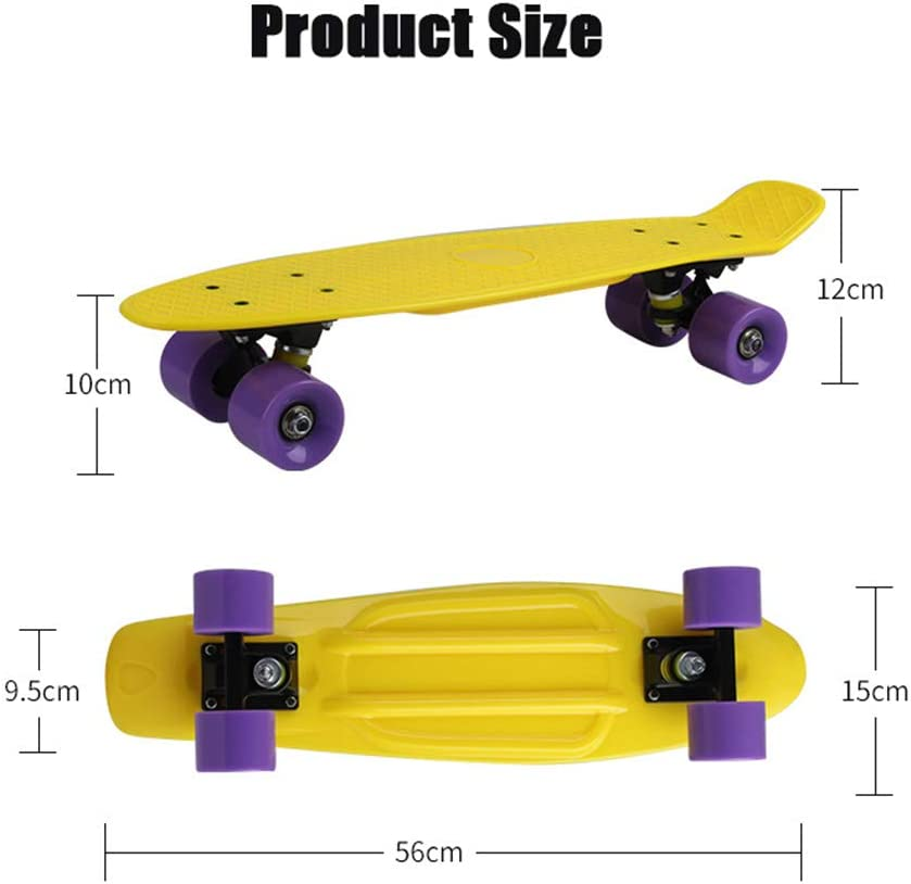 Shortboard for Kids and Adults 22-inch Vintage Skateboard,Complete Highly Flexible Plastic Cruiser Board with Smooth PU Casters,Skate for Beginners and Professionals 220 Ibs,A