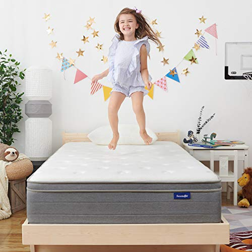 Sweetnight 10 Inch Full Size Mattress In a Box - Sleep Cooler with Euro Pillow Top Gel Memory Foam, Individually Pocket Spring Hybrid Mattresses for Motion Isolation,CertiPUR-US Certified,Full Size