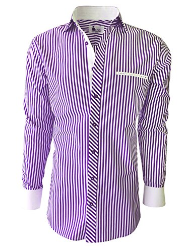 Purple Stripe Dress Shirt (Mens Dress Shirt - Stripes. Slim Fit (15.5