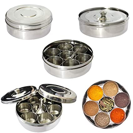 Indian 7 Spice Tin Box Masala Spices Storage Box Stainless Steel Dabba No 11