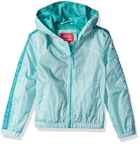 (Pink Platinum Girls' Big Printed Windbreaker Jacket with Mesh Lining, LT Aqua 10/12 )