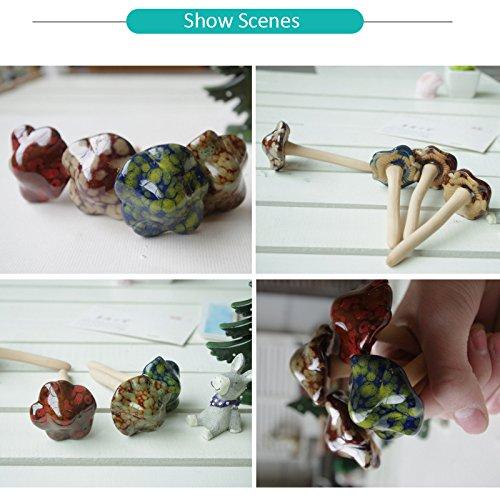 TINTON LIFE 8pcs Ceramic Garden Mushrooms, Fairy Lawn Ornament Patio Flowerpot Decorative Plants Stakes Accessories