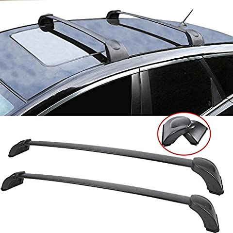 AUXMART Roof Rack Cross Bars Luggage Cargo Carrier Rail for 2007-2012 Mazda CX-7 Black Aluminum - 132LBS / 60KG (Carriers 2009)