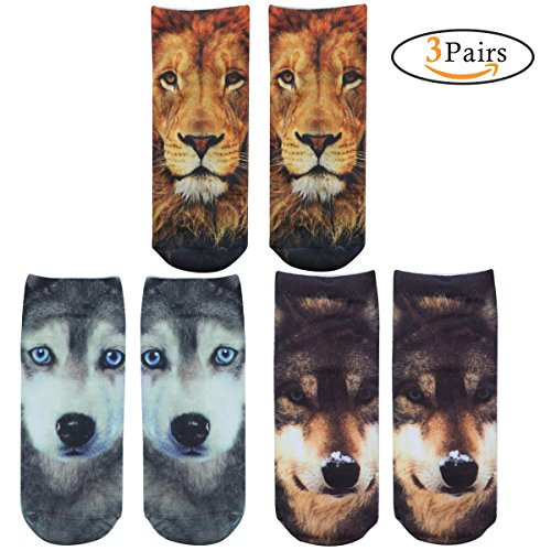 FEESHOW Unisex Adult Animal Pattern Novelty Short Ankle Crew Socks Type A One (Short Funny Halloween Jokes For Adults)