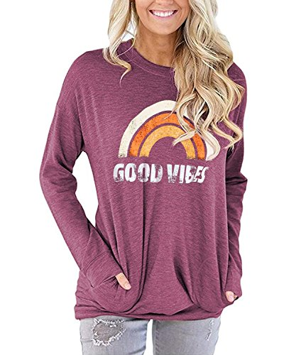 TECREW Womens Good Vibes Long Sleeve Tunic Tops Loose Casual Sweatshirt Pocket T-Shirts Blouse (Tunic Graphic T-shirt)