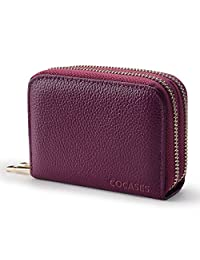 Credit Card Wallet, COCASES RFID Blocking Genuine Leather Double Zipper Women Clutch Coin Purse (Purple)