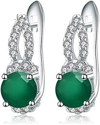 AdronQ 925 Joyería Fina de Plata esterlina Pendientes de Gota de Piedra Preciosa de ágata Verde Natural Preciosos para