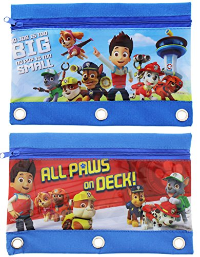 Set of 2 Paw Patrol Pencil Pouches Bags Marshall Rubble Chase Rocky Zuma Skye Everest