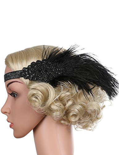 Flapper Girl Feather Flapper Headpiece Wedding 1920s Gatsby Headbands Crystal (Black)
