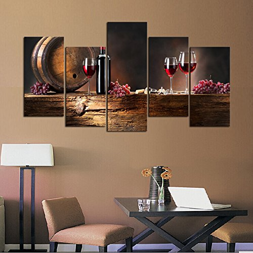 Cao Gen Decor Art-PSRP12827 panels Wall Art Fruit Grape Red Wine Glass Painting on Canvas Stretched and Framed Canvas Paintings Ready to Hang for Home Decorations Wall Decor by Cao Gen Decor Art