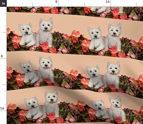 Spoonflower Garden Fabric - Westies West Highland White Terrier Terriers Dogs Animals Large Scale Repeats by Dogdaze Printed on Fleece Fabric by The Yard