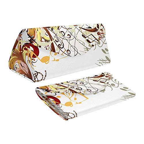 InterestPrint Music Notes Dragonfly Foldable Eyeglasses Case with Magnet Closure Leather Protective Case
