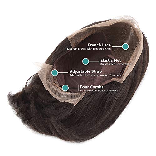 LIAZAHAIR 13x6 Deep Part Short Bob Lace Front Wigs Human Hair Pre Plucked Full End 150% Density Brazilian Straight Bob Wigs With Baby Hair For Women (12 inches, Natural color) by LIAZAHAIR (Image #2)