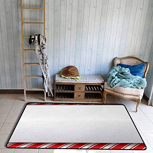 Futon Frame Barcelona - Door Rug for Internal Anti-Slip Rug Candy Cane Horizontal Borders Frame with Red and White Sweetie Pattern in Abstract Style Hard and wear Resistant W63 xL94.5 Red White
