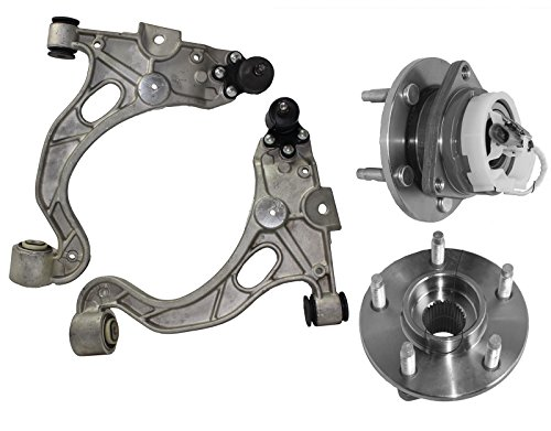 Detroit Axle - Both (2) New Complete Front Lower Control Arm & Ball Joint Assemblies + 2 Front Wheel Hub & Bearing Assembly w/ABS - Deville, Bonneville, Lesabre & Aurora - 10-Year Warranty... ()