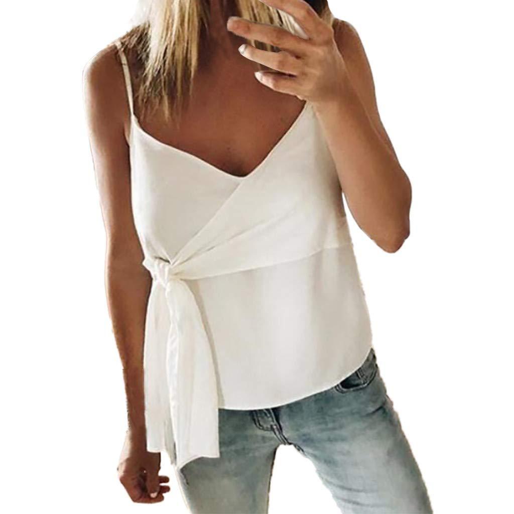 Blouses for Women Fashion 2019,YEZIJIN Women Summer Fashion Casual Camis Sleeveless Crop Ruffle Solid Bandage Tops White