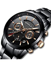 Mens Stainless Steel Watches Date Casual Wrist Watch with...