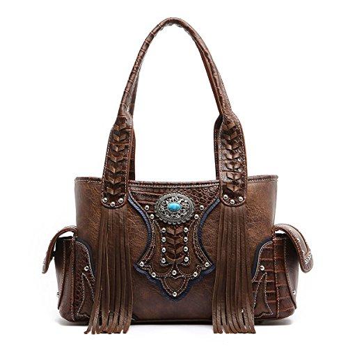 Western Handbag - Classic Concho Embossed Concealed Carry Shoulder Bag with Fringe -