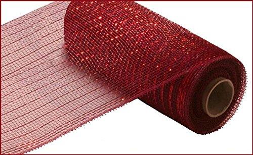 10 inch x 30 feet Deco Poly Mesh Ribbon - Value Mesh (Burgundy, Red Foil) Brick Mesh
