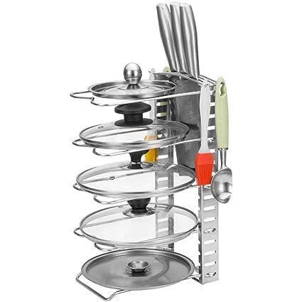 Estante de cocina LCFF Cocina casera Acero Inoxidable Estante De La Olla Multifuncional Almacenamiento De Tabla