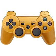 PS3 Controller Wireless Bluetooth Six Axis Dualshock Game Controller for Sony PlayStation 3 PS3 (Gold)