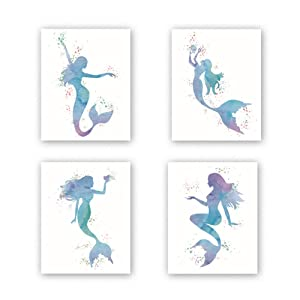 "Graceful Movements Mermaid Watercolor Art Print,Legend of The Sea,Set of 4(8"" x10"") Unframed Canvas Print, Great Gift for Girls Bedroom Bathroom Home Decor"