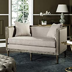 Farmhouse Living Room Furniture Safavieh Home Collection Leandra Taupe Linen French Country Settee farmhouse sofas and couches