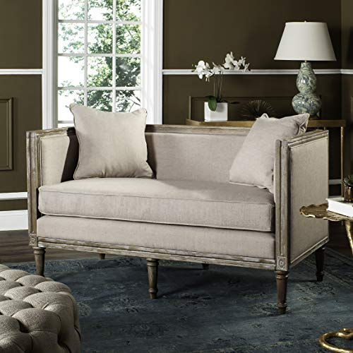 Safavieh Home Collection Leandra Taupe Linen French Country Settee (Country Loveseats Style)