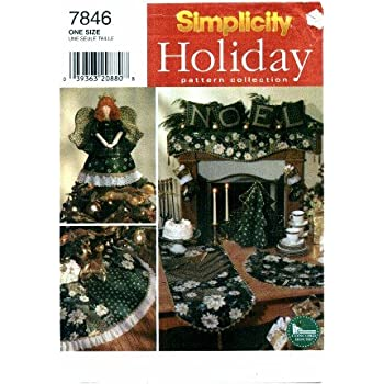 Simplicity 7846 Holiday Sewing Pattern Christmas Angel Tree Topper Stocking Treeskirt & More